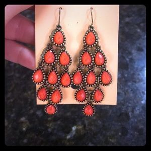 Orange chandelier earrings - NEVER WORN